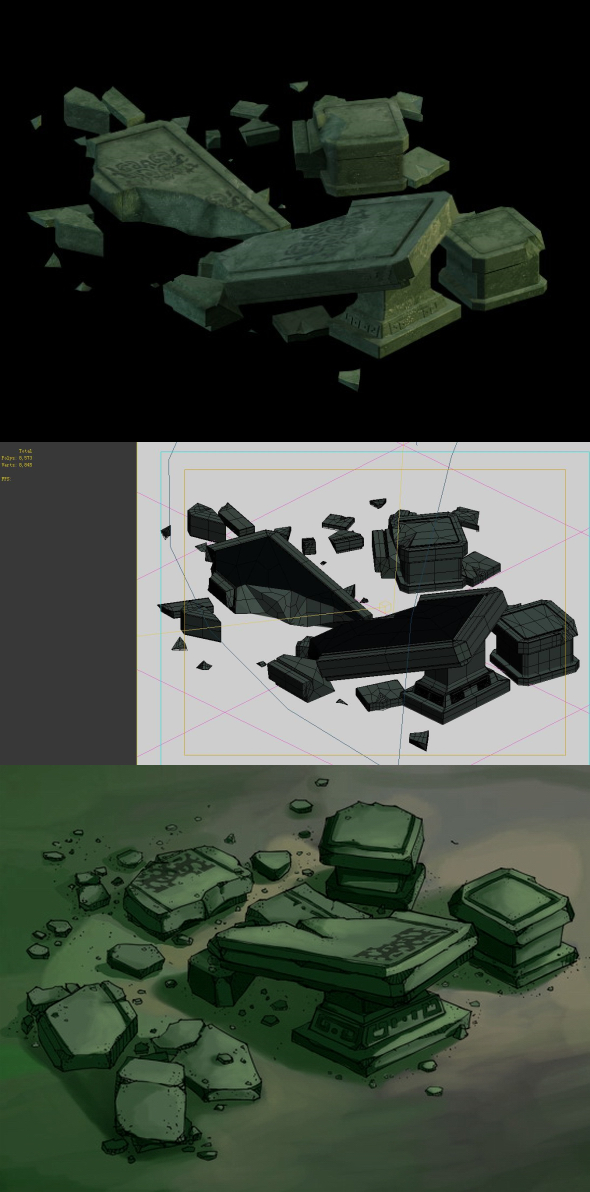 Game Model - Earth Palace Gongquan Palace broken stone tables and chairs - 3DOcean Item for Sale