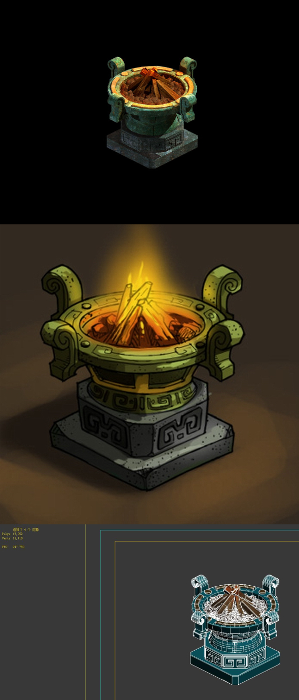 Game model - Palace of the Imperial Palace Bronze brazier - 3DOcean Item for Sale