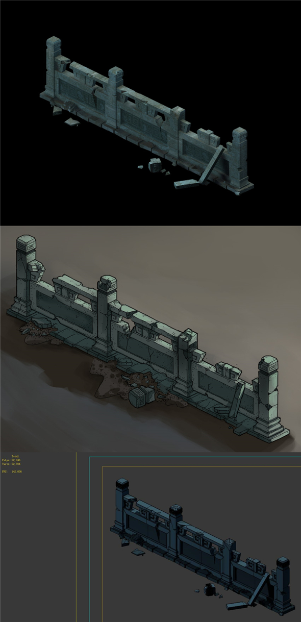 Game Model - Ghetto Area Broken Platform Fence 1 - 3DOcean Item for Sale