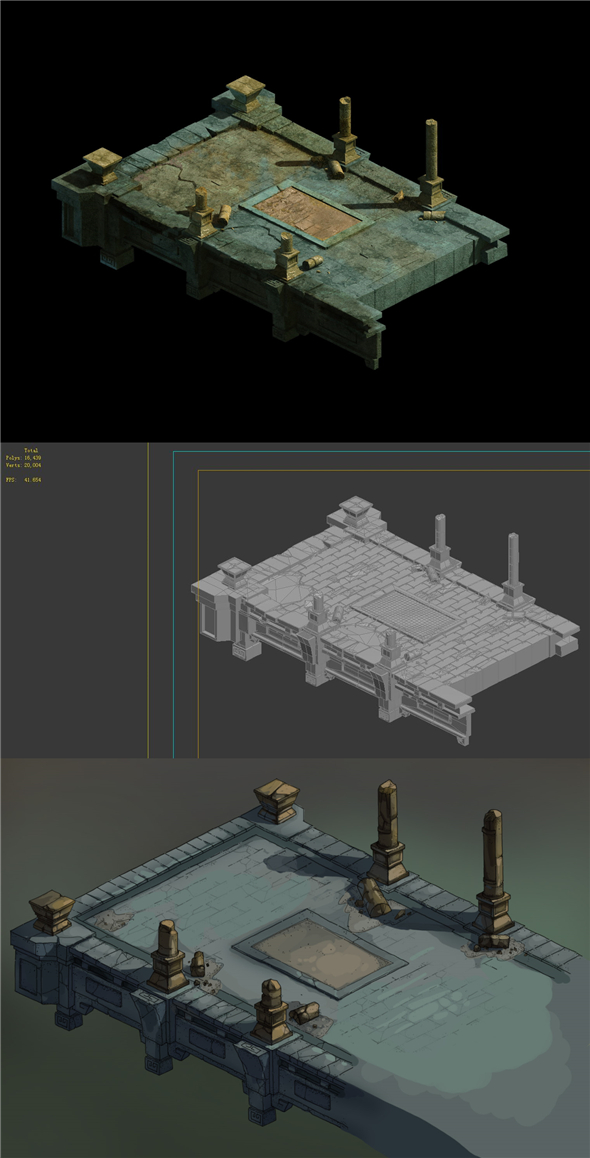 Game Model - Underground Palace Platform Stone Gallery 01 - 3DOcean Item for Sale