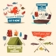 Fishing Icon Set with Boat, Tackle and Fish Catch