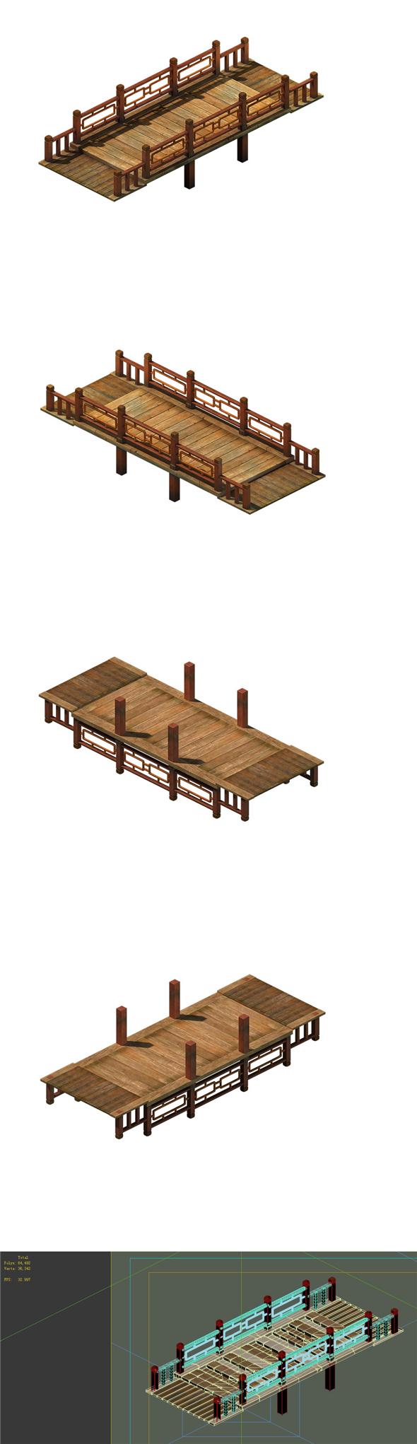 Game model - ancient wooden bridge - 3DOcean Item for Sale