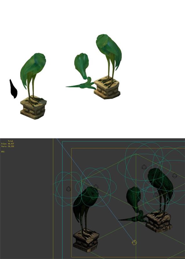 Game Model - Broken Crane Lamp - 3DOcean Item for Sale