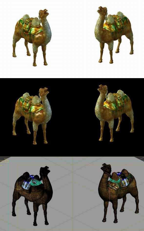 Game Model - Ancient tomb ceramic three - color camel - 3DOcean Item for Sale