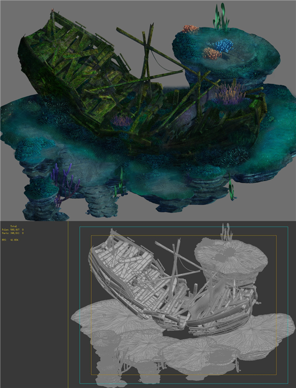Game Model - Undersea Shipwreck -02 - 3DOcean Item for Sale