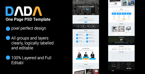 DaDa One Page PSD Template
