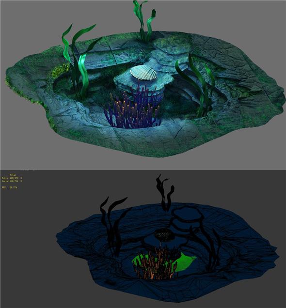 Game Model - Seabed - Organ Seashells - 3DOcean Item for Sale