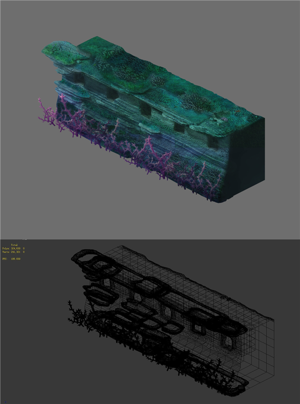 Game Model - Seabed - Coral City Wall 01 - 3DOcean Item for Sale