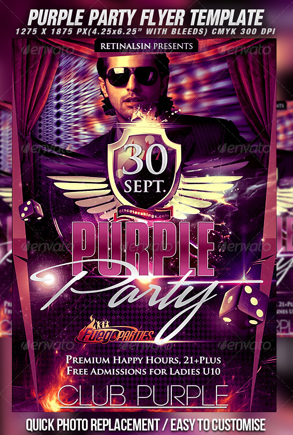 Purple Party Flyer Template - Clubs & Parties Events
