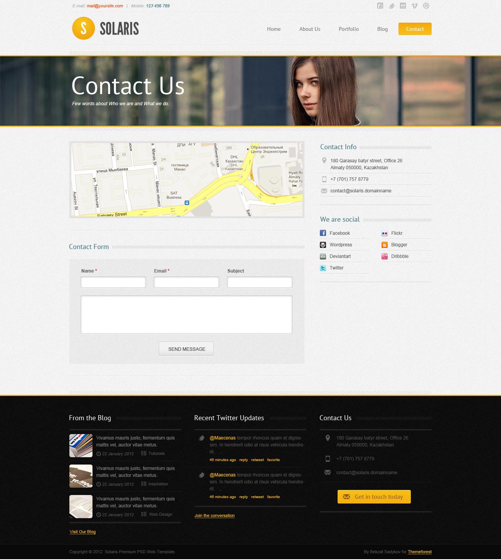 Solaris PSD Web Theme