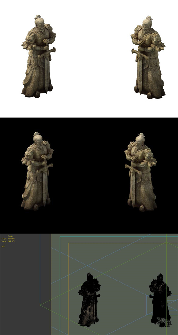 Game Model - General of the Warring States Terra cotta stone carving - 3DOcean Item for Sale
