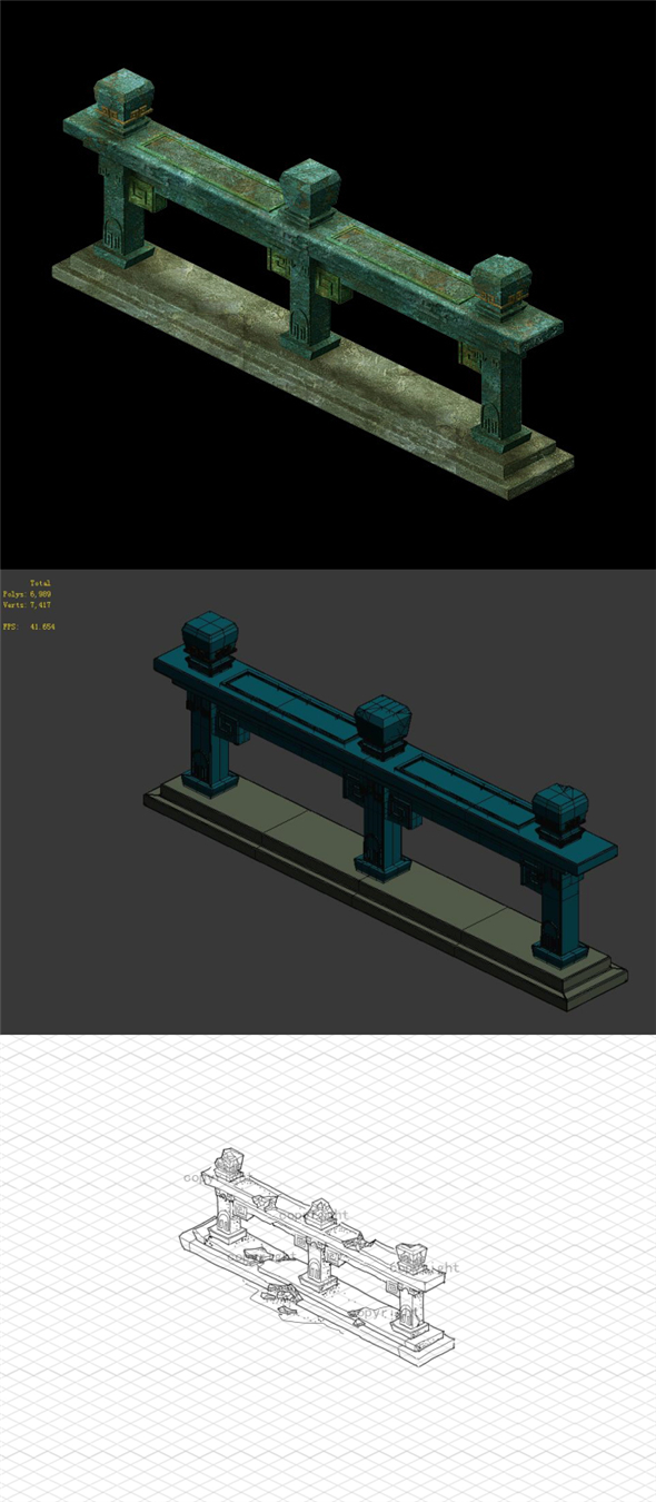 Game model - gorgeous square fence 2 - 3DOcean Item for Sale
