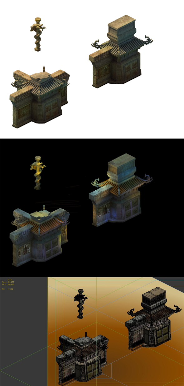 Game Model - Imperial Tombs Dragon-shaped column Entrance - 3DOcean Item for Sale