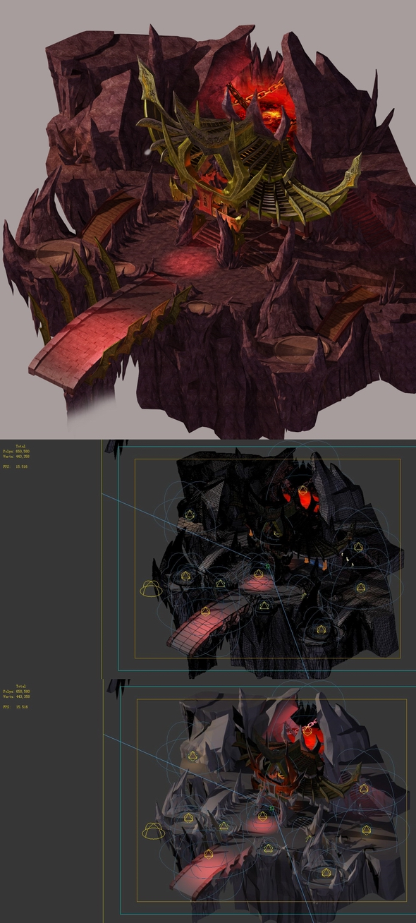 Game model - large building in the volcano - 3DOcean Item for Sale