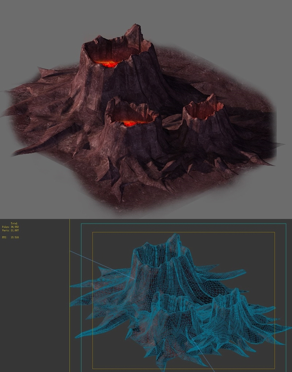 Game model - volcanic tree - shaped magma mouth 02 - 3DOcean Item for Sale
