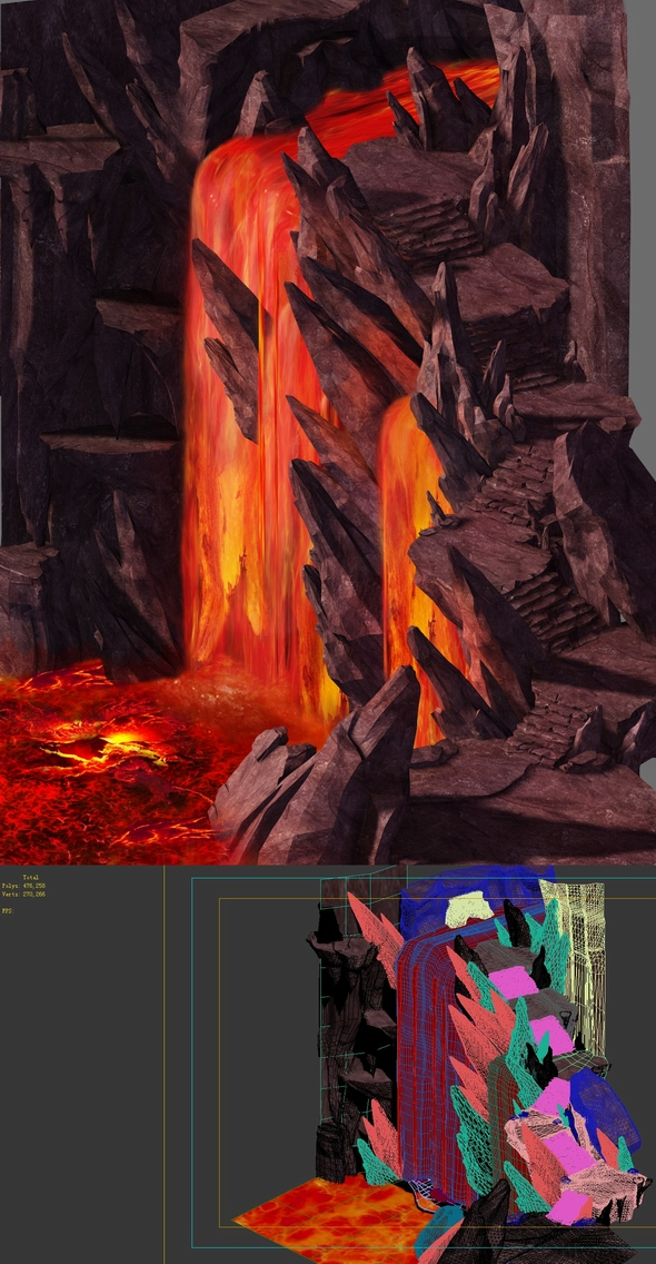 Game model - lava on the volcanic lava - 3DOcean Item for Sale