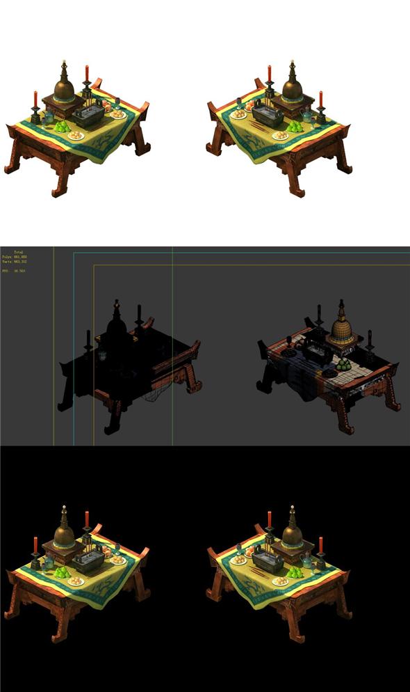 Game Model - altar table - 3DOcean Item for Sale