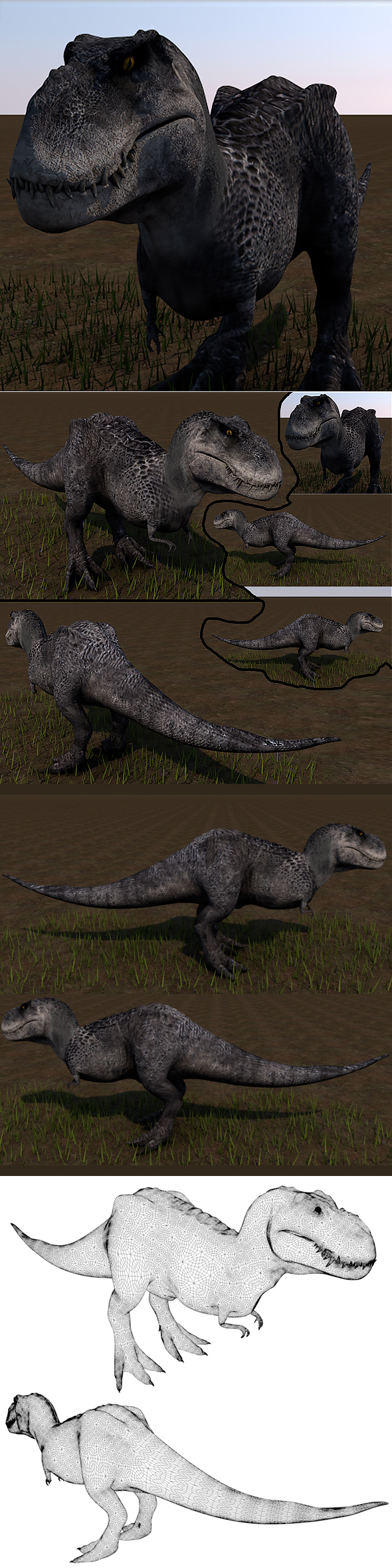 T-rex 3D ( Full textures & edition ) - 3DOcean Item for Sale