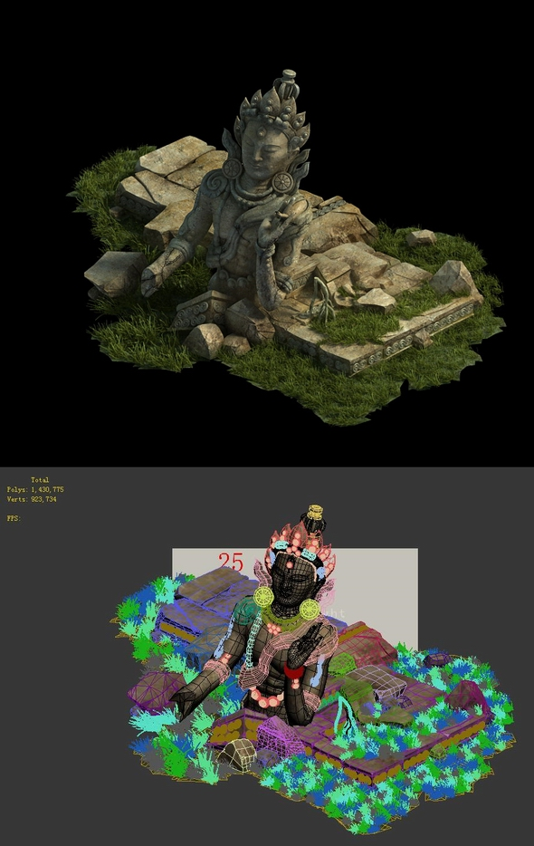 Game Model - Kasai Buddha Traces forest Broken Statue of the Emperor 01 - 3DOcean Item for Sale