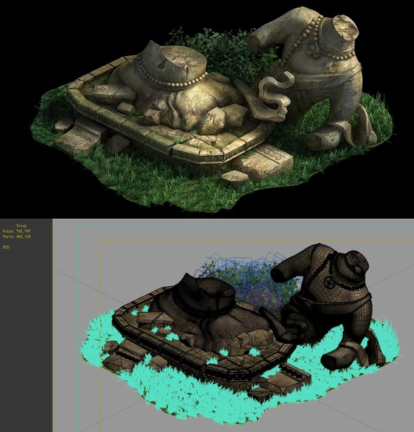 Game Model - Kasai Buddha Traces forest Broken Statue of the Emperor 02 - 3DOcean Item for Sale