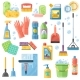 Cleaning SuppliesTools Flat Icons Set