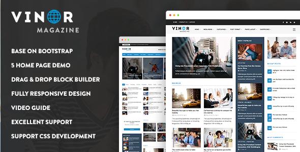 Vinor Magazine - Responsive Magazine News Drupal 8 Theme