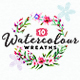 10 Handpainted Watercolour Wreaths
