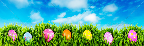 Hand painted Easter eggs - Stock Photo - Images