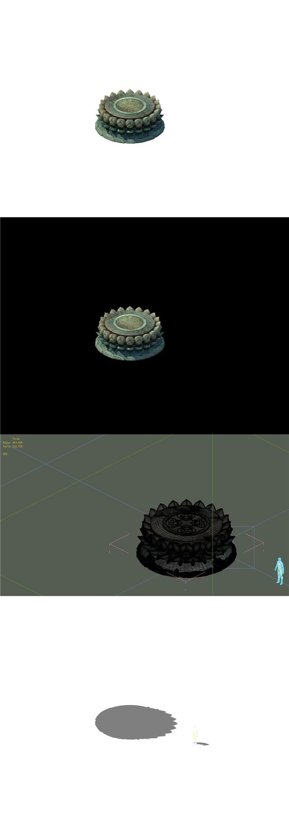 Game Model - Kapu Buddha Trail Forest Big Lotus Stone Block 03 - 3DOcean Item for Sale