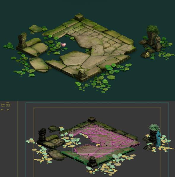 Game Model - Kajyas Buddha Forest Forest Large lotus flower water platform - 3DOcean Item for Sale