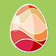 Four Red Rotating Different Easter Egg Designs Elements