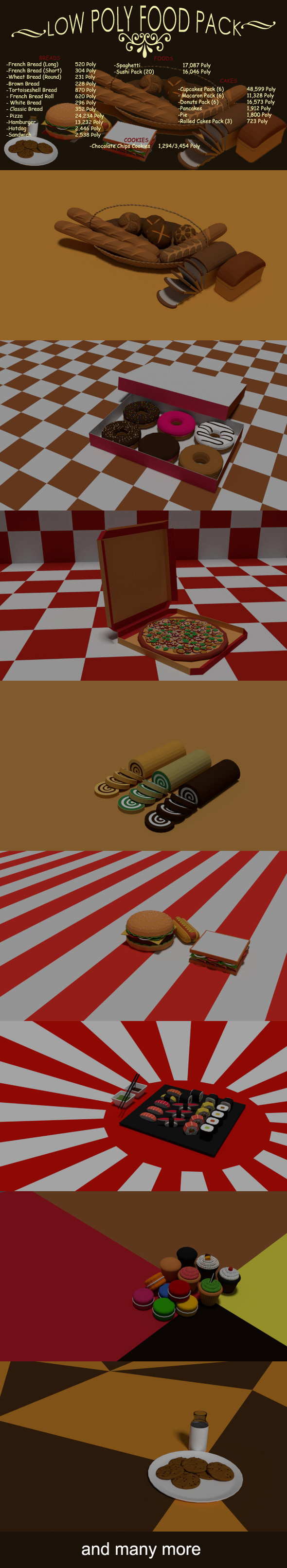 Low poly Food pack - 3DOcean Item for Sale