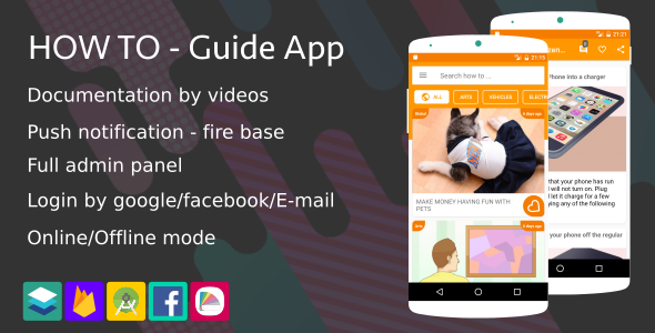 How To – Guide App (Notification,Login social,Material style …) (Complete Applications)