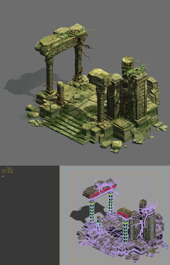 Game Model - Kashayana Buddha in the ruins of the forest 4 - 3DOcean Item for Sale