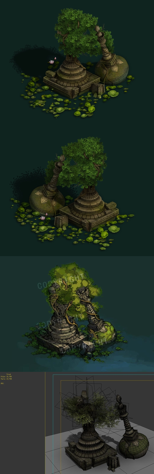 Game Model - Kashayana Buddhist Forest Broken Water Pagoda 1 - 3DOcean Item for Sale