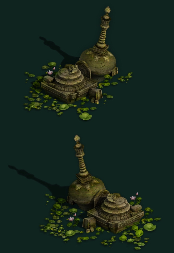 Game Model - Kashayana Buddhist Forest Broken Water Pagoda 3 - 3DOcean Item for Sale