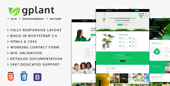 gPlant – Multipurpose ECO, Organic &amp Environmental HTML Template (Environmental)
