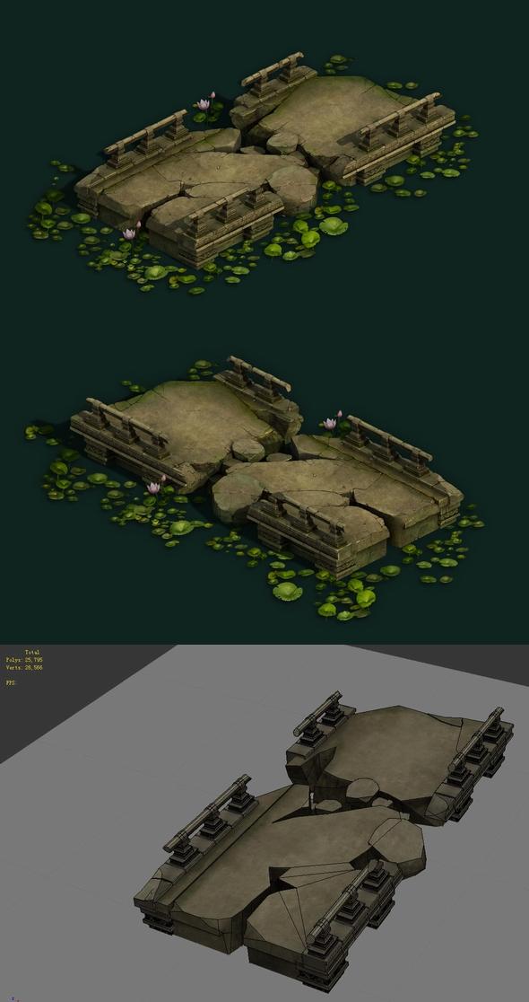 Game Model - Kashayana Buddhism Forest Broken Stone Bridge 01 - 3DOcean Item for Sale