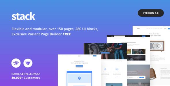 Фото Премиум тема Wordpress  Stack - Multi-Purpose WordPress Theme with Variant Page Builder & Visual Composer — 1.  large preview