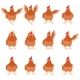 Set of Brown Hen Flat Icons