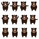 Set of Flat Moon Bear Icons