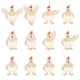 Set of White Chicken Flat Icons