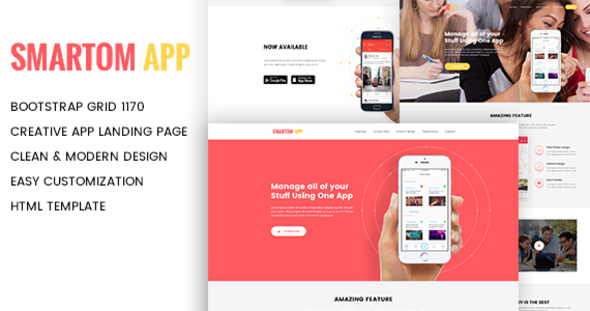 SmartomApp – App Landing HTML5 Template (Technologies)