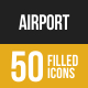 Airport Filled Low Poly B/G Icons