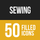 Sewing Filled Low Poly B/G Icons