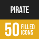 Pirate Filled Low Poly B/G Icons