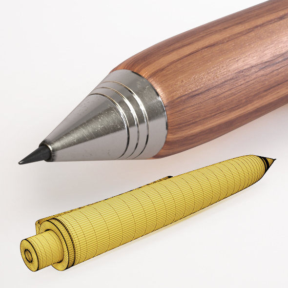 HD Wooden Automatic Pencil - 3DOcean Item for Sale