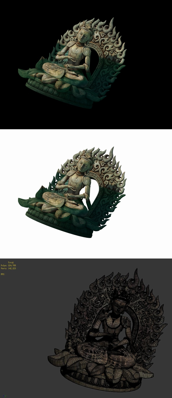 Game Model - Kashayana Buddha Forest Water Sculpture 05 - 3DOcean Item for Sale