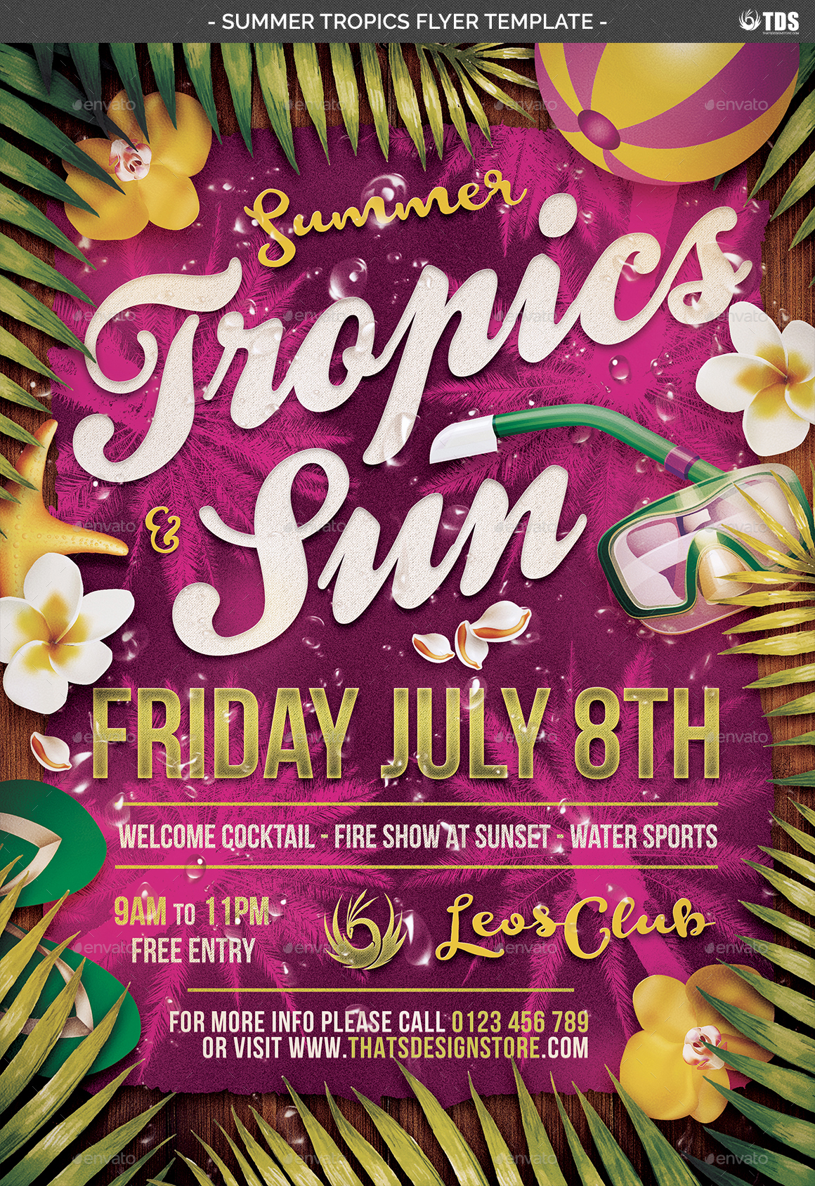 Summer Tropics Flyer Template by lou606 – Summer Flyer Template