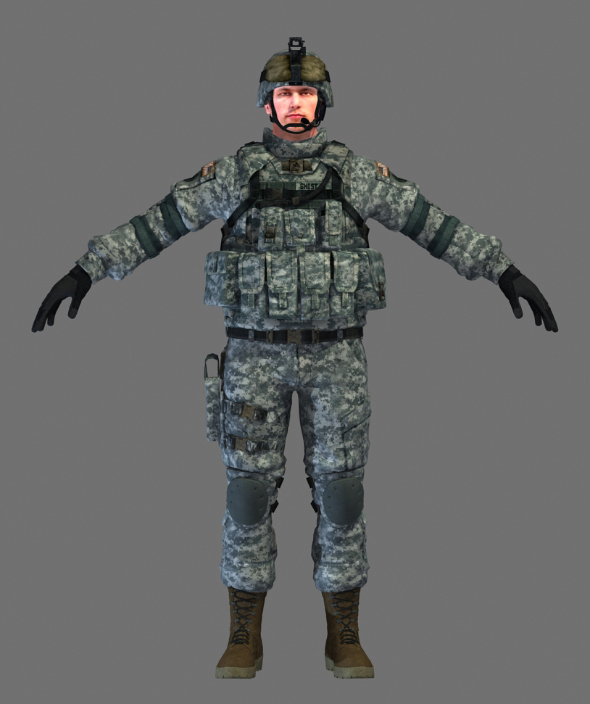 US Marine Soldier Mid High Poly - 3DOcean Item for Sale
